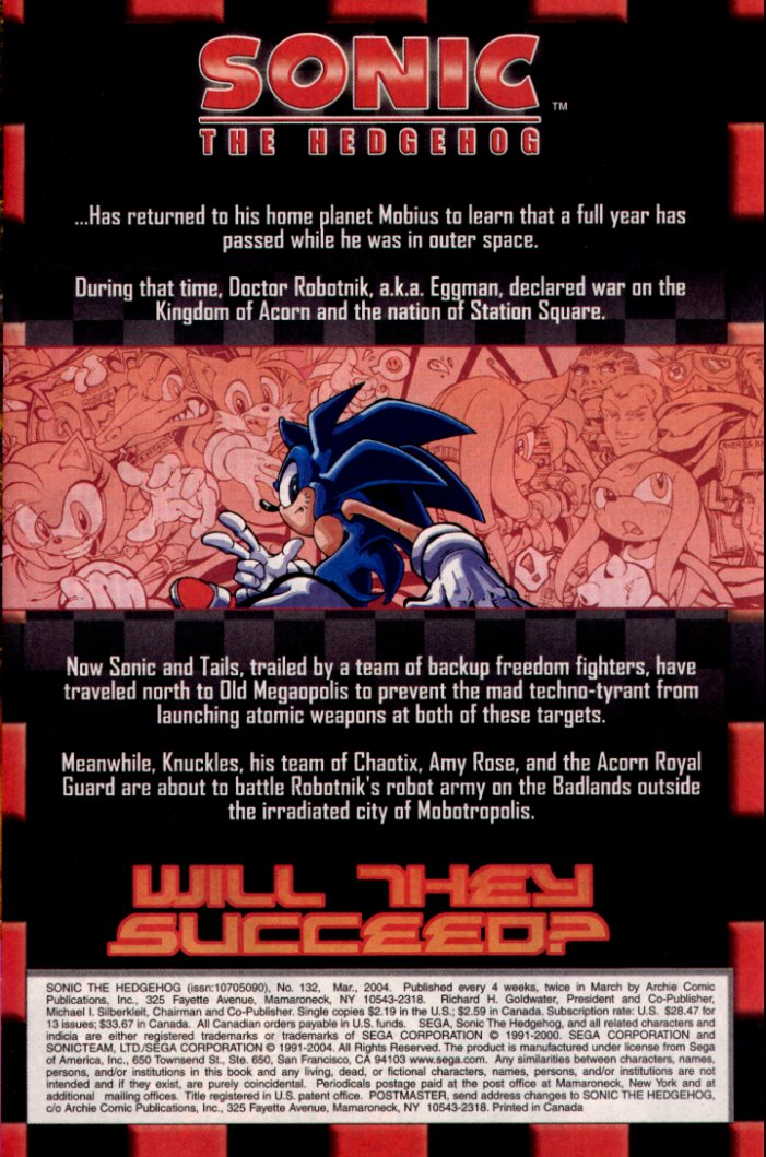 Read online Sonic The Hedgehog comic -  Issue #132 - 2