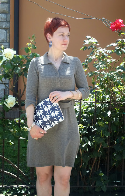 Military green shirt dress, shark clutch, striped hoop earrings and roses || Sharks, Khaki Knit & Allergies on Mother's Day - Funky Jungle, fashion & personal style blog
