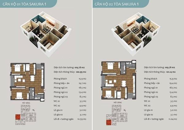 Chi tiết căn hộ 01,02 chung cư Sakura 1