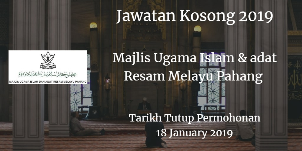 Jawatan Kosong MUIP 18 January 2019