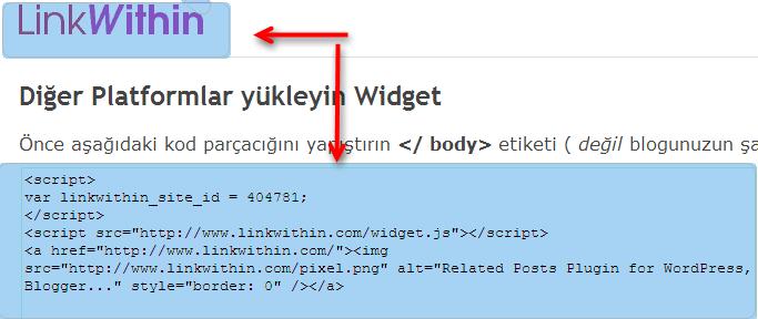 Linkwithin kodu nasıl alınır