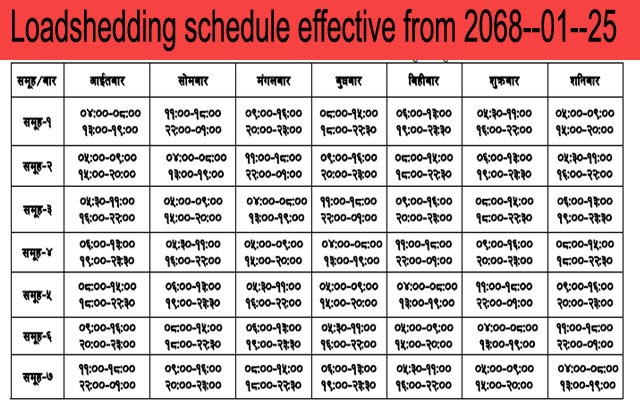 Loadshedding Schedule: PHOTOS OF NEPAL: Load Shedding Schedule Effective From