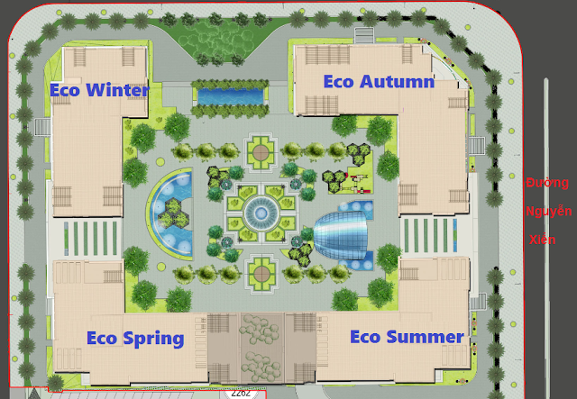 Mặt bằng thiết kế 4 tòa Eco Greeen City