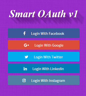 Facebook, Google, Twitter & Linkedin OAuth Login Using PHP, MySQL and jQuery