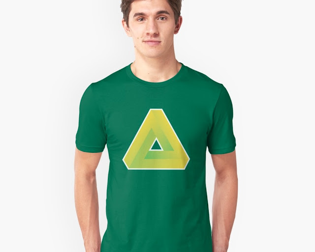 Penrose illusion T-shirt - green yellow