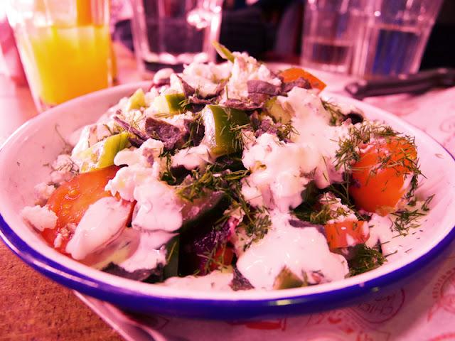 mixed salad with blue corn tortillas