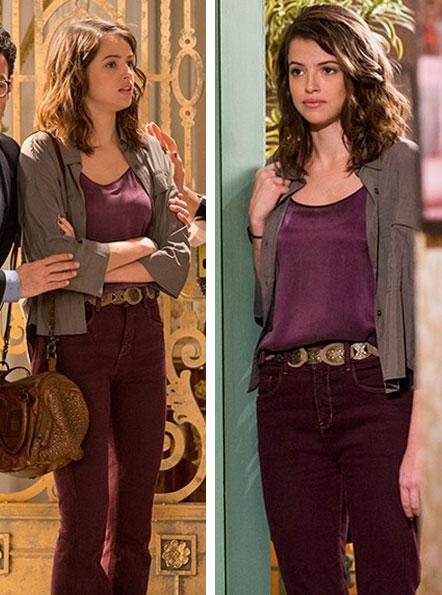 Figurino, Camila (Agatha Moreira) Haja Coração, look vinho calça e blusa