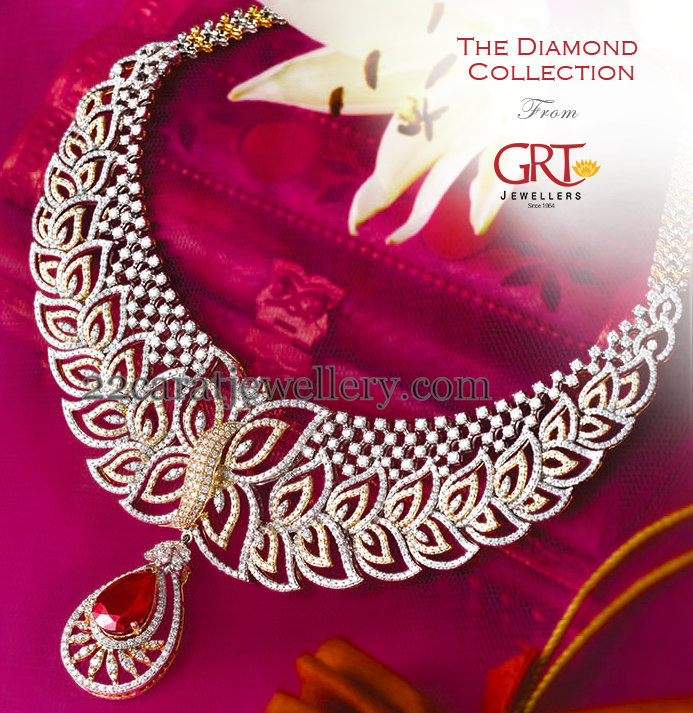 Leafy Design Diamond Set By Grt Jewellery Designs