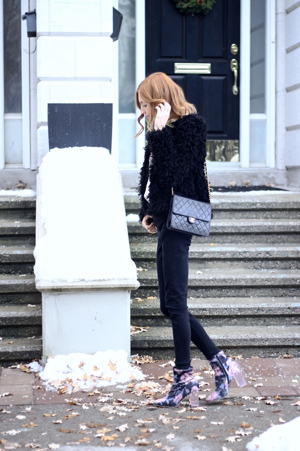 Pink Floral boots, black shearling coat, vintage Chanel, glam Parisian winter style