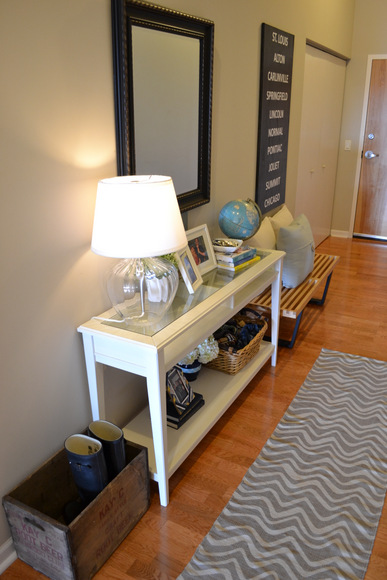 Front Hall with rug runner neutral colors table with lamp: Design Your Entryway | DIY Playbook