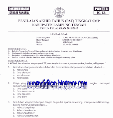 Naskah Soal PAT/ UKK IPS Kelas 7 SMP/MTs Tahun 2018