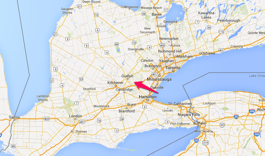 Climbing My Family Tree: Location of Puslinch Township in what is now Ontario Canada, courtesy of Google maps