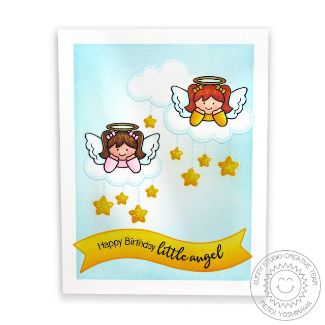 Sunny Studio Stamps: Little Angels Birthday Card by Mendi Yoshikawa