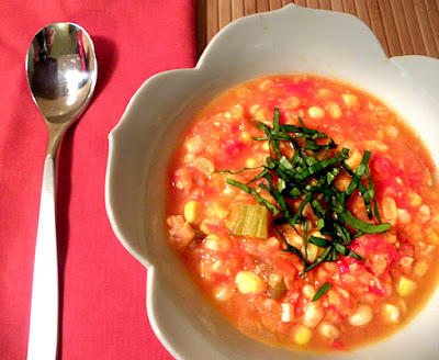 Bowlful of Fresh Corn and Tomato Soup