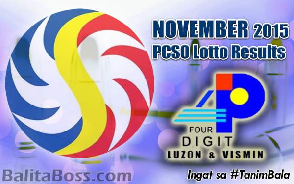 Image: November 2015 4-Digit Game PCSO Lotto Results