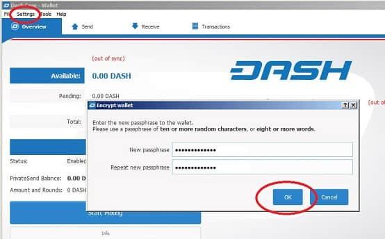 contraseña wallet oficial dash
