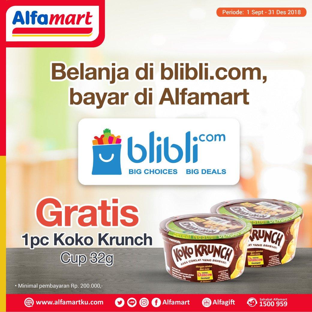 Alfamart - Promo Bayar BliBli Gratis Koko Krunch (s.d 31 Des 2018)