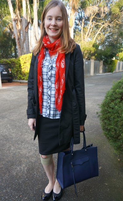 plaid shirt red alexander mcqueen skull scarf RM MAB tote black trench and pencil skirt