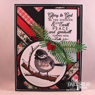 Winter Chickadee  Paper Collection: Holly Jolly  Custom Dies: Pierced Rectangles, Pierced Circles, Circles, Pine Branches, Circle Ornaments, Quilted Background