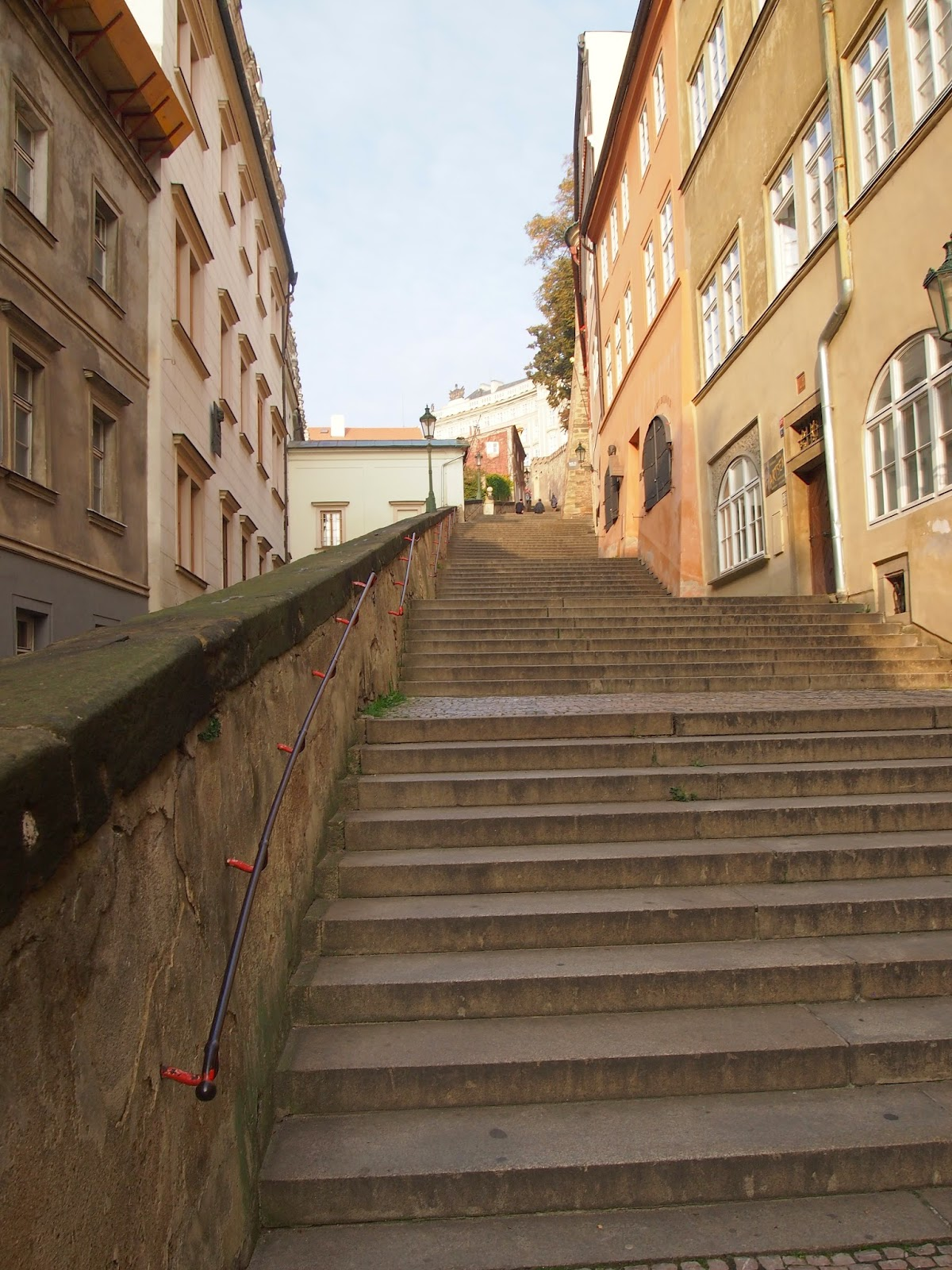 Walking up the steps to the Prague Castle