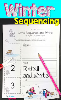 A winter writing activity with sequencing pictures for speech therapy