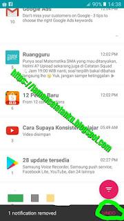 riwayat notifikasi aplikasi recent notification terhapus