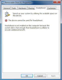 Screen shot of ReadyBoost not enabled by Windows