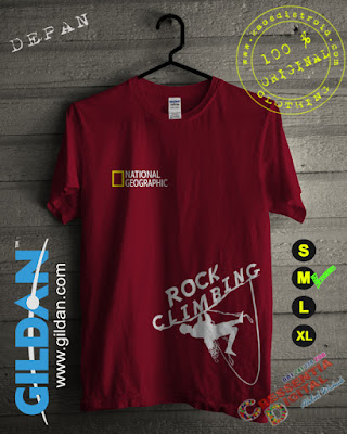 Baju Kaos National Geographic Rock Climbing Warna Merah Maroon