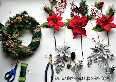 Supplies for decorating a Christmas wreath