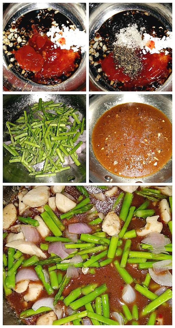 Step by Step Pictures of How to make Pepper Chicken with Asparagus Stir Fry1