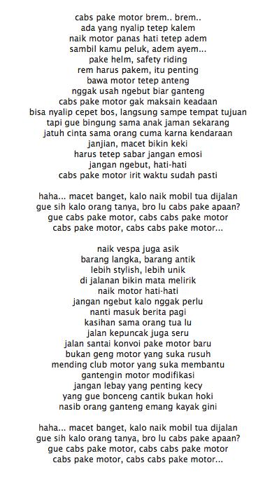 Lirik Lagu Young Lex Cabs Pake Motor