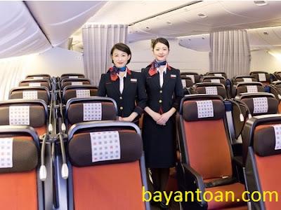 Ghế phổ thông tiện ích thương gia trên máy bay Japan Airlinesa
