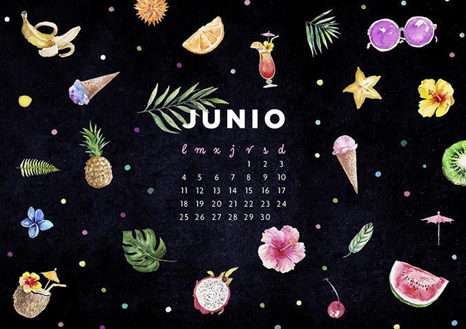 Milowcostblog calendario junio imprimible y fondo for Fondo de pantalla calendario 2018