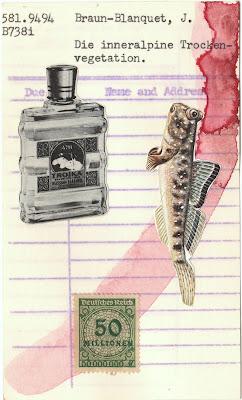 vintage cologne bottle, postage stamp, fish, library card, mail art, dada, Fluxus, collage