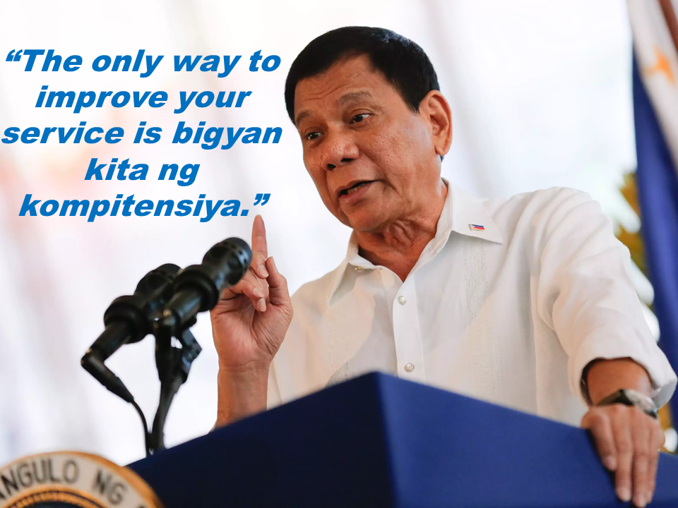 President Duterte conveyed his plan to allow foreign telecommunications companies to do business in the country to improve internet services for Filipinos.   The President said, stressing that he would allow four to six foreign internet service providers to enter the country.  He said a Chinese firm and a Singaporean-based company had already expressed desire to set up stations here.  The Chief Executive earlier issued a warning to local telecommunications firms to improve the services that they provide to the public, otherwise they would have to compete with new players.  The President in conclusion said he remains grateful for the overwhelming support he has been receiving from the Filipino public, as shown in recent surveys. Sponsored Links  The President then reiterated his commitment to create genuine change in people's lives, particularly on ending the illegal drug problem and improving the country's economy so Filipinos no longer have to look for better jobs abroad Source: PTV News   Advertisement READ MORE:       ©2017 THOUGHTSKOTO