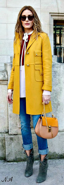 statement coats mustard Olivia Palermo