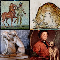 Four antique images of pets