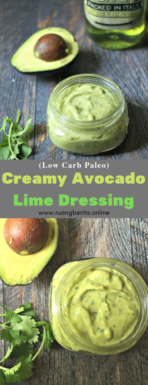 Creamy Avocado Lime Dressing (Low Carb Paleo) #creamy #avocado #lime #dressing #lowcarb #paleo