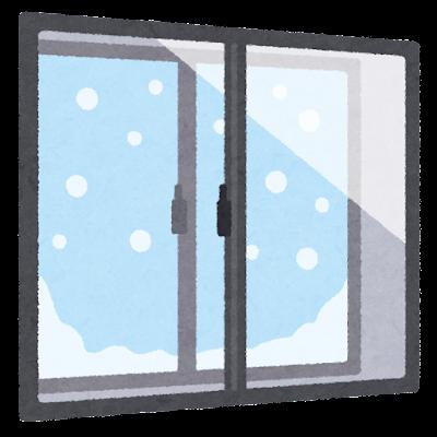 二重窓のイラスト(雪)