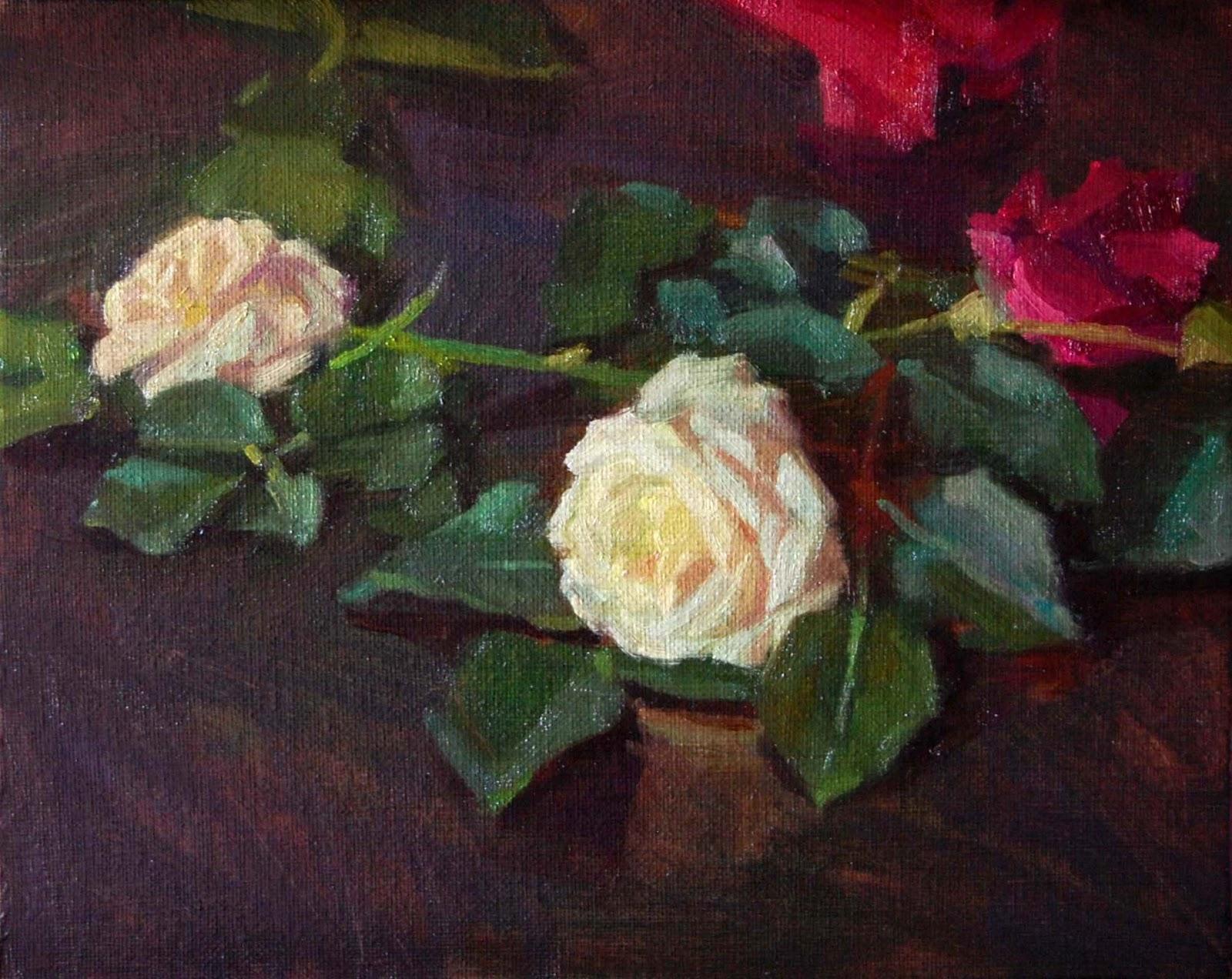 Kerry Dunn Studio 2 Small Rose Paintings Alla Prima