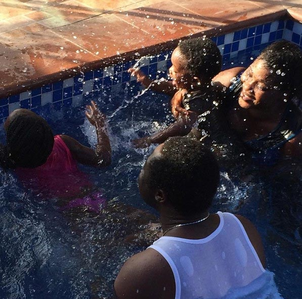 Aww! Nollywood Star Mercy Johnson And Her Family Take A Swim