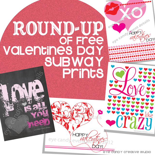round up, free downloads, subway art, valentines art prints
