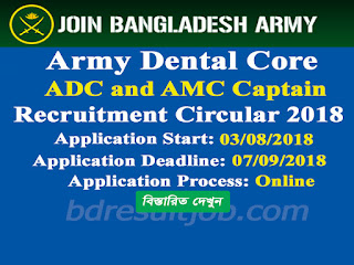 Army Dental Core ADC AMC Captain Recruitment Circular 2018