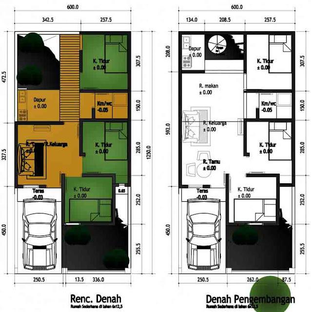 denah rumah minimalis 2 lantai ukuran 6x12 aguscwid