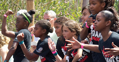 Young girls dancing for dance program