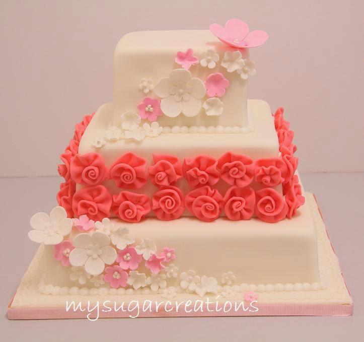 Ribbon Roses Wedding Cake: My Sugar Creations (001943746-M): Pink Ribbon Rose Wedding