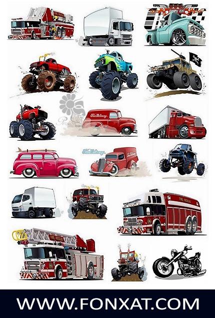 Download vector images truck, excavator, jeep