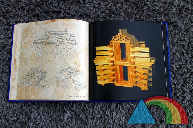 Páginas interiores del libro Kapla con ejemplos de construcciones