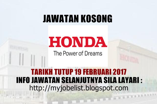 Jawatan Kosong Honda Malaysia Sdn Bhd Februari 2017