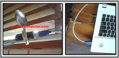 contoh gambar cara memperkuat sinyal modem dengan sendok